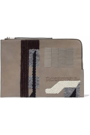 RICK OWENS Bead-embellished appliquéd leather clutch