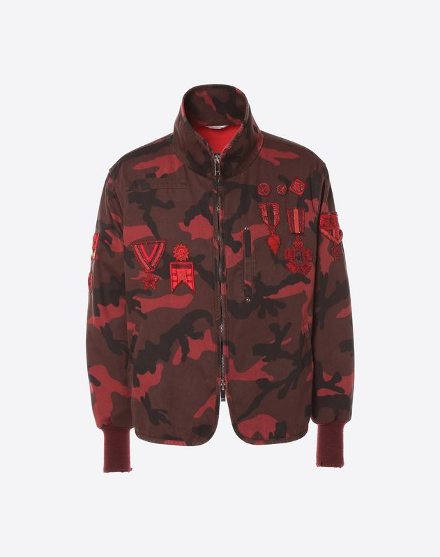 Camouflage blouson with military embroidery