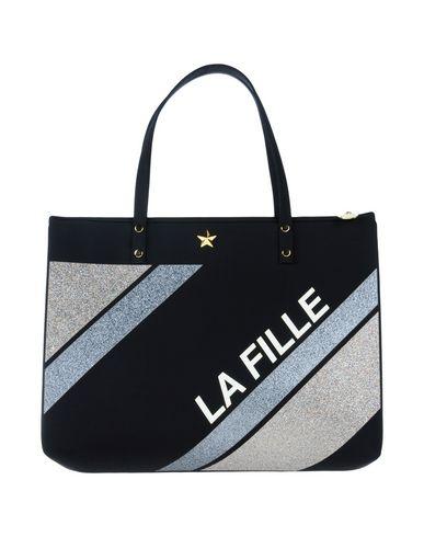 LA FILLE des FLEURS レディース ハンドバッグ ブラック ポリエーテル 53% / ナイロン 25% / ポリエステル 16% / ポリウレタン 6%