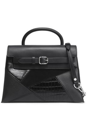ALEXANDER WANG Suede-paneled croc-effect, textured and smooth leather shoulder bag