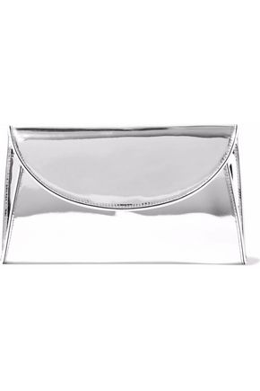 DIANE VON FURSTENBERG Suede-paneled leather envelope clutch
