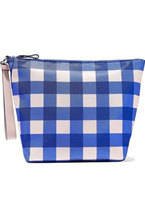 DIANE VON FURSTENBERG Checked coated canvas wristlet bag