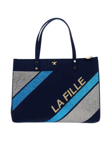 LA FILLE des FLEURS レディース ハンドバッグ ダークブルー ポリエーテル 53% / ナイロン 25% / ポリエステル 16% / ポリウレタン 6%