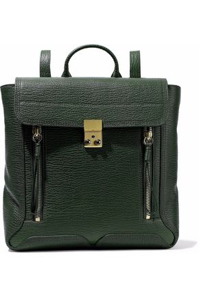 WOMAN PASHLI TEXTURED-LEATHER BACKPACK DARK GREEN