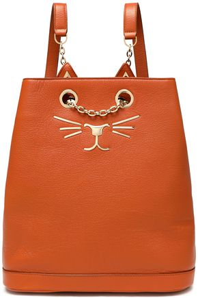 CHARLOTTE OLYMPIA Chain-embellished appliquéd textured-leather backpack