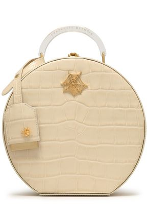 CHARLOTTE OLYMPIA Appliquéd croc-effect leather shoulder bag