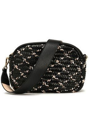 MAJE Braid-trimmed woven leather shoulder bag