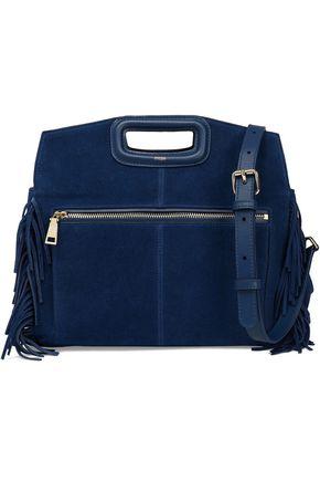 MAJE Fringe-trimmed suede shoulder bag