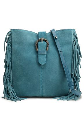 MAJE Fringe-trimmed suede shoulder bag