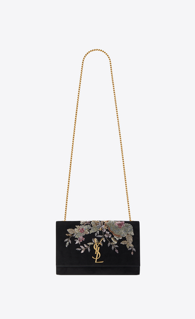SAINT LAURENT MONOGRAM KATE Woman Medium KATE chain bag in black suede embroidered with sequins and multicolored crystals a_V4