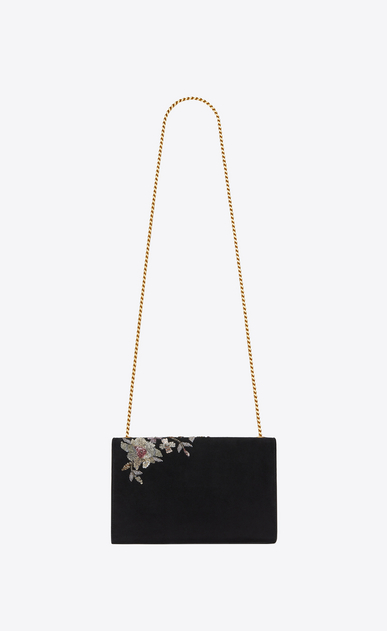 SAINT LAURENT MONOGRAM KATE Woman Medium KATE chain bag in black suede embroidered with sequins and multicolored crystals b_V4