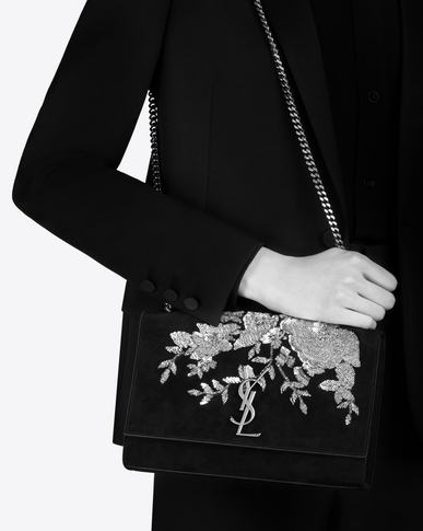 SAINT LAURENT MONOGRAM KATE Woman Medium KATE chain bag in black suede embroidered with sequins and multicolored crystals y_V4