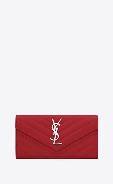 SAINT LAURENT Monogram Matelassé Woman large flap wallet in red textured matelassé leather a_V4