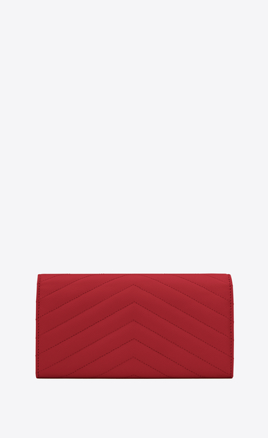 SAINT LAURENT Monogram Matelassé Woman large flap wallet in red textured matelassé leather b_V4