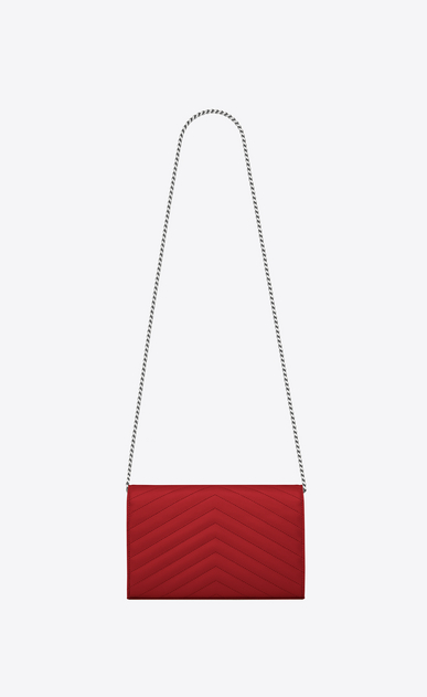 SAINT LAURENT Mini bags Matelassé Woman chain wallet in red textured matelassé leather b_V4