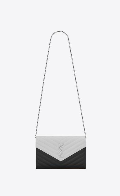 SAINT LAURENT Mini bags Matelassé Woman chain wallet in pink and white textured matelassé leather V4