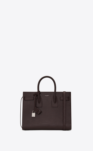 SAINT LAURENT Sac De Jour Small Woman Small SAC DU JOUR in shiny black tulip leather with crocodile embossing a_V4