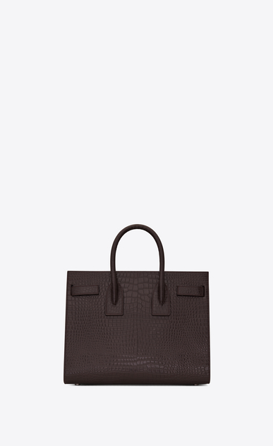 SAINT LAURENT Sac De Jour Small Woman Small SAC DU JOUR in shiny black tulip leather with crocodile embossing b_V4