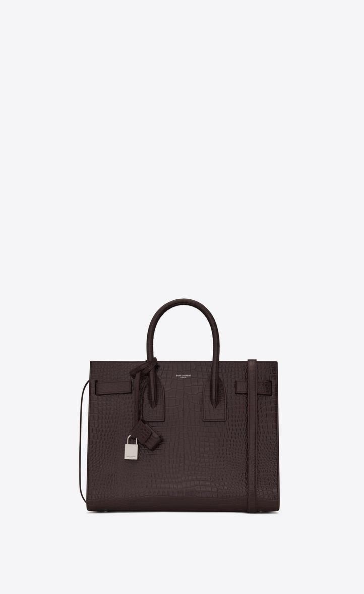 Classic Sac De Jour Small In Embossed Crocodile Shiny Leather, Black Tulip