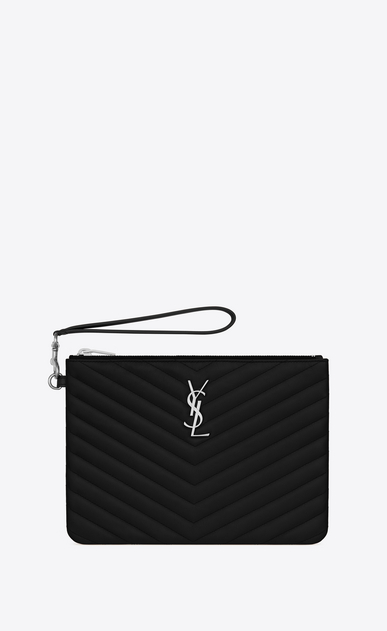 SAINT LAURENT Monogram Matelassé Woman pouch in black quilted leather a_V4