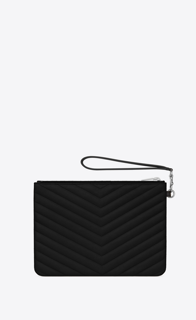 SAINT LAURENT Monogram Matelassé Woman pouch in black quilted leather b_V4