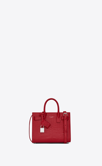 SAINT LAURENT Nano Sac de Jour Woman nano sac de jour bag in red crocodile embossed shiny leather a_V4