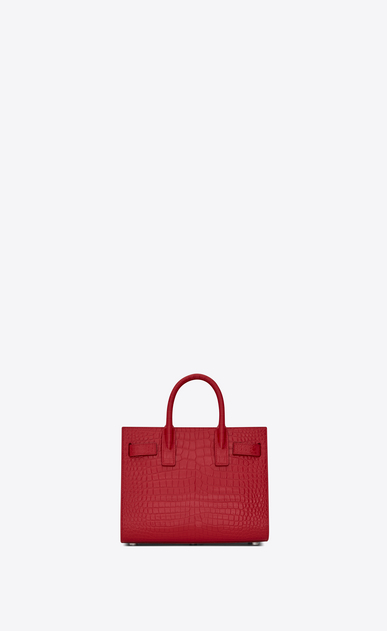 SAINT LAURENT Nano Sac de Jour Woman nano sac de jour bag in red crocodile embossed shiny leather b_V4