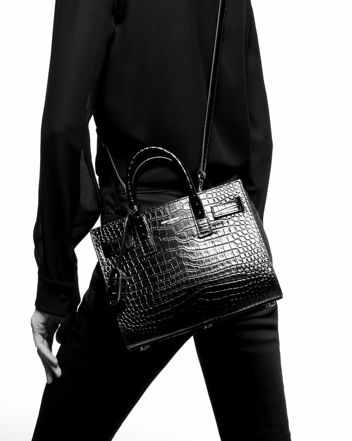 db8492fa8f Zoom; classic sac de jour nano in embossed crocodile shiny leather , View  with model 2