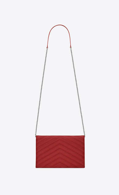 SAINT LAURENT Mini bags Enveloppe Woman envelope chain wallet in red textured matelassé leather b_V4