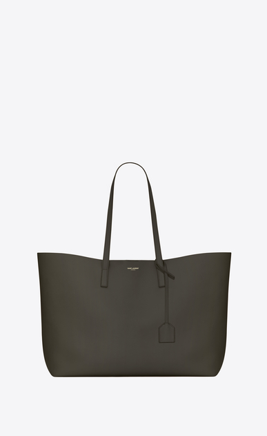 SAINT LAURENT Shopping Saint Laurent E/W Woman shopping saint laurent tote bag in dark khaki leather a_V4
