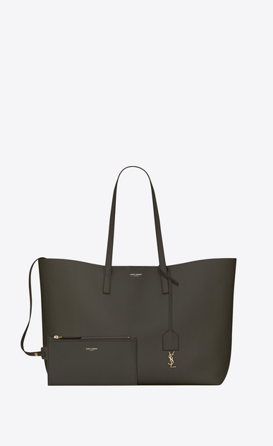 SAINT LAURENT Shopping Saint Laurent E/W Woman shopping saint laurent tote bag in dark khaki leather b_V4
