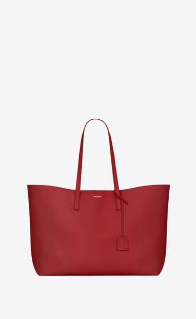 SAINT LAURENT Shopping Saint Laurent E/O Femme Sac SHOPPING en cuir rouge a_V4