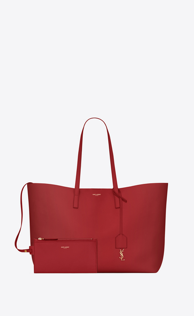 SAINT LAURENT Shopping Saint Laurent E/O Femme Sac SHOPPING en cuir rouge b_V4