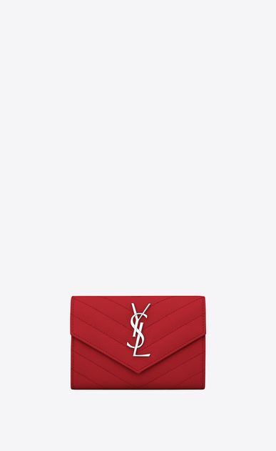 SAINT LAURENT Monogram Matelassé Woman small envelope wallet in red textured matelassé leather a_V4