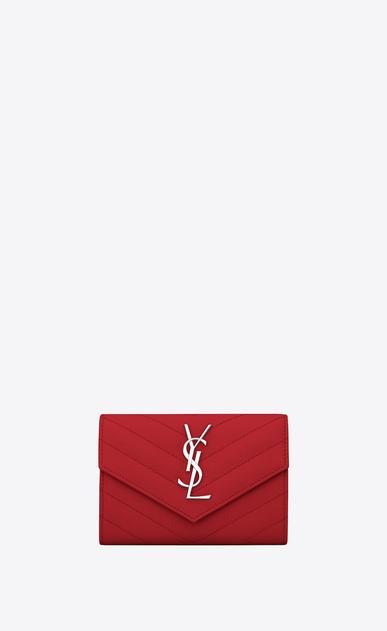 SAINT LAURENT Monogram Matelassé Damen kleines umschlagportemonnaie aus rotem strukturleder mit matelassé-nähten a_V4