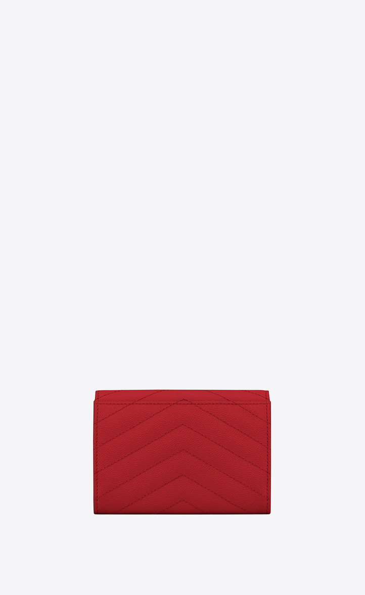 SAINT LAURENT MONOGRAM SMALL ENVELOPE WALLET IN GRAIN DE POUDRE EMBOSSED LEATHER, RED