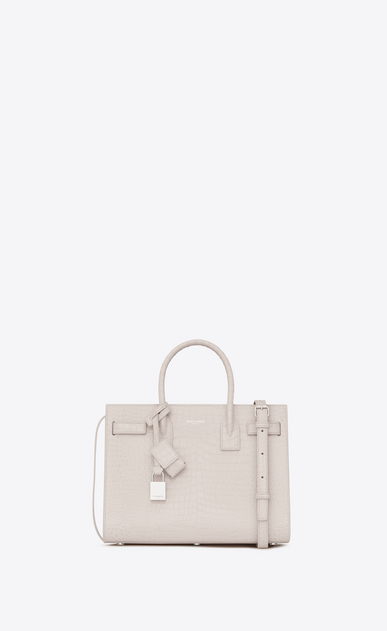SAINT LAURENT Baby Sac de Jour Woman baby sac de jour bag in cream crocodile embossed shiny leather a_V4