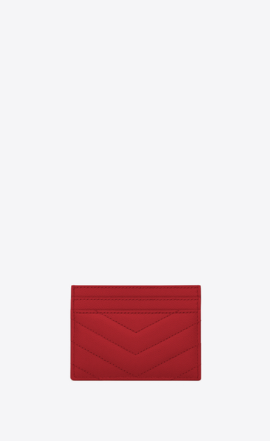 SAINT LAURENT Monogram Matelassé Woman monogram Credit Card Case in red Textured Matelassé Leather b_V4