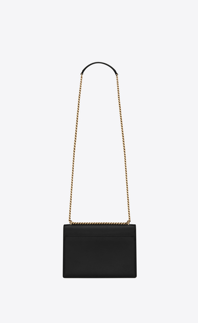 SAINT LAURENT Sunset Femme Sac Medium SUNSET en cuir noir et blanc perle b_V4