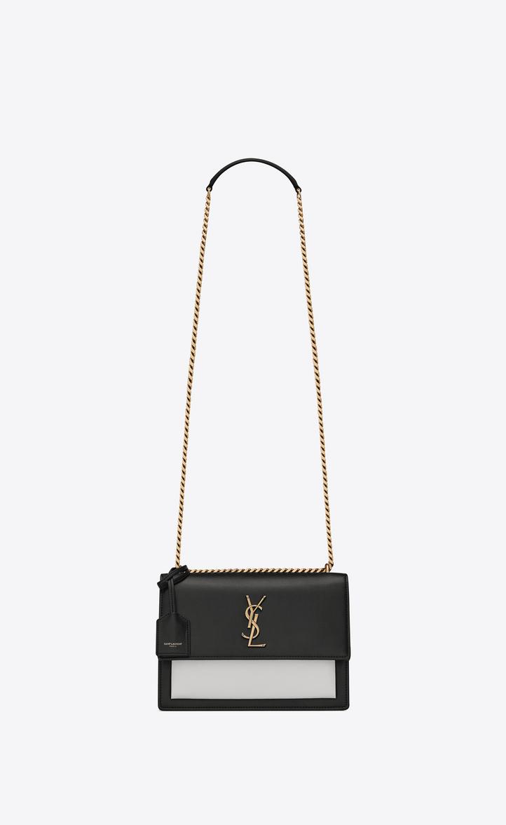 Saint Laurent Medium SUNSET Bag In Black And Pearl White Leather ... e0b39b438f0f9