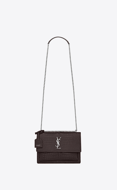 SAINT LAURENT Sunset Femme Sac Medium SUNSET en cuir black tulip brillant embossé façon crocodile a_V4