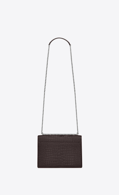 SAINT LAURENT Sunset Femme Sac Medium SUNSET en cuir black tulip brillant embossé façon crocodile b_V4