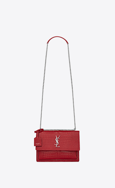 SAINT LAURENT Sunset Femme Sac Medium SUNSET en cuir rouge brillant embossé façon crocodile a_V4