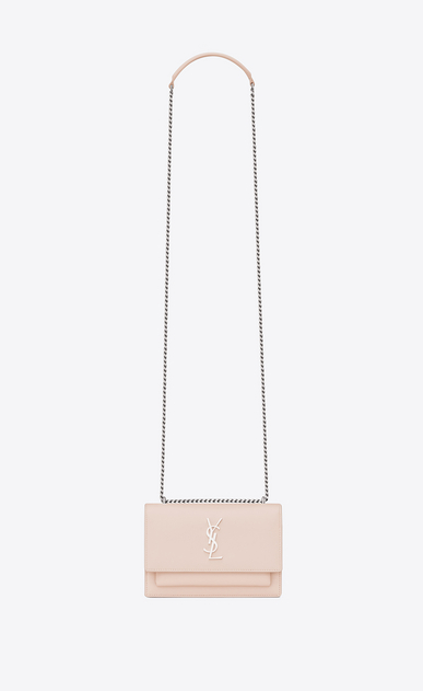 SAINT LAURENT Mini bags sunset Donna Portafogli SUNSET con catena rosa délavé in pelle a_V4