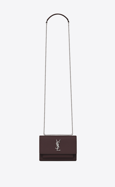 SAINT LAURENT Mini sacs Sunset Femme Portefeuille à chaîne SUNSET en cuir black tulip a_V4