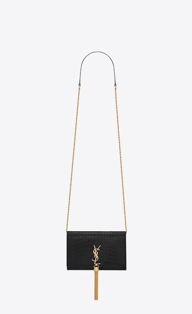 SAINT LAURENT Mini bags Kate Woman Kate chain wallet with tassel in crocodile embossed shiny leather a_V4