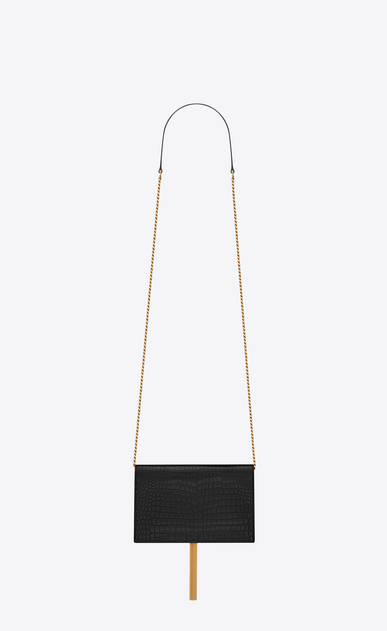 SAINT LAURENT Mini sacs Kate Femme Kate chain wallet avec pompon en cuir brillant embossé crocodile b_V4