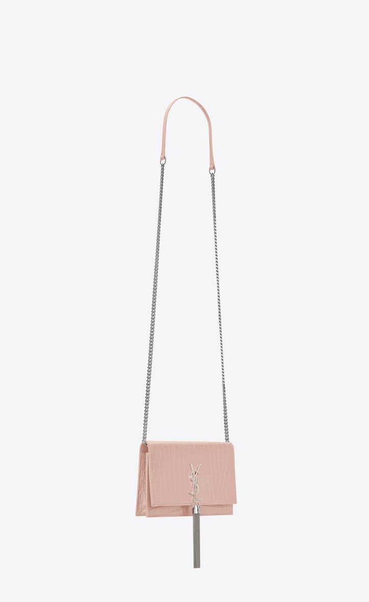 Zoom  kate tassel chain wallet in washed pink crocodile embossed leather e69128ff43524