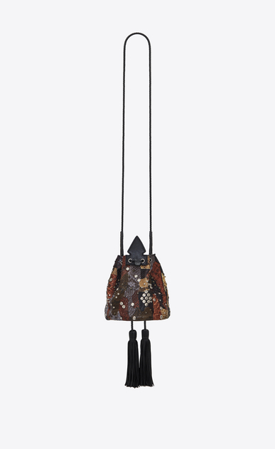 SAINT LAURENT Bucket Bag Donna Bag ANJA Small a secchiello in pelle python patchwork marrone e nera b_V4