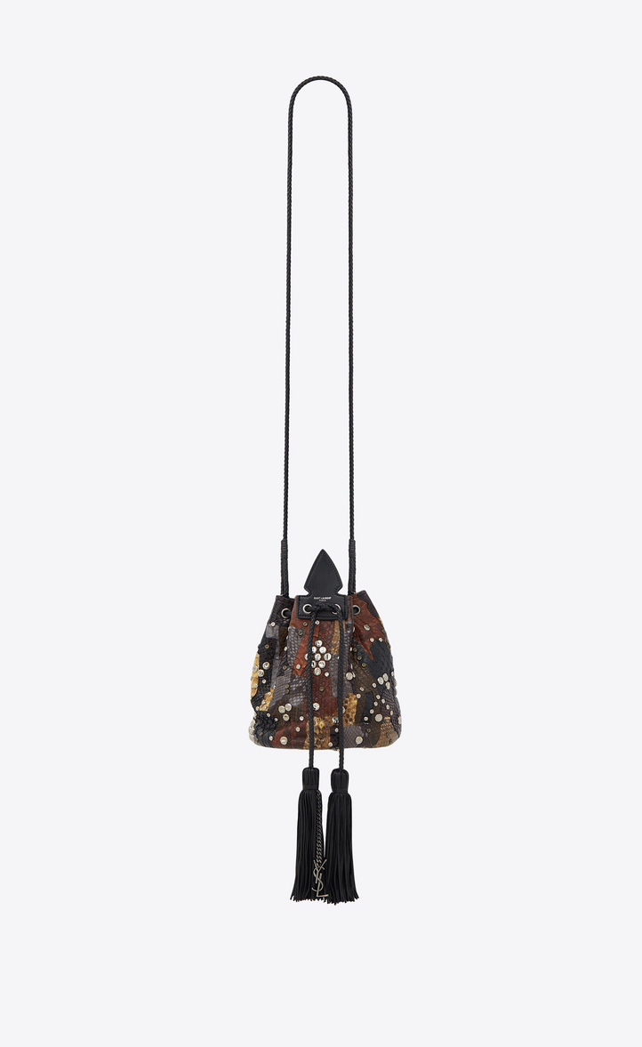 SAINT LAURENT SMALL ANJA BUCKET BAG IN A PATCHWORK OF BROWN AND BLACK  PYTHON LEATHER eddda639d44c1